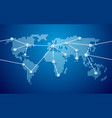 world map connection blue background vector image