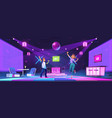young people dance at night club disco party vector image