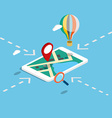 Flat 3d isometric mobile navigation maps vector image
