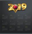 2019 calendar template eritrea country map golden vector image vector image