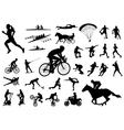 30 high quality sport silhouettes vector image vector image