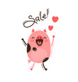 a joyful pig reports a sale happy pink piglet vector image vector image