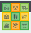 agriculture and farming line icons set vector image