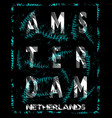 amsterdam typography design with flowers vector image