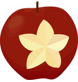 an apple with a carved star isolated red apple on vector image vector image