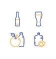 apple beer glass and beer icons set refill water vector image vector image