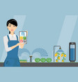 asian woman farmer with tablet in a greenhouse vector image vector image