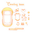 baby items with text coming soon vector image