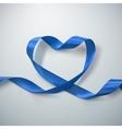 Blue Ribbon Heart vector image vector image
