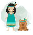 boho kid indian girl and tribal animal bear vector image