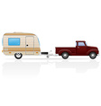 car pickup with trailer 05 vector image vector image