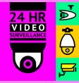cctv notice set video surveillance vector image