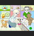 children colored cartoon contact zoo pet shop vector image vector image
