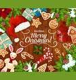 christmas gift and new year presents greeting card vector image vector image