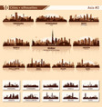 city skyline set 10 silhouettes of asia 2 vector image vector image