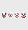 crazy clowns faces on white background circus vector image vector image