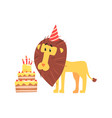 cute cartoon lion in a party hat and birthday cake vector image