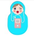 Cute matryoshka with mp3 player vector image