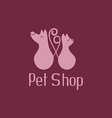 Cute pet shop logo with cat and dog vector image vector image