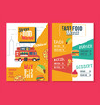 food truck flyer and menu template street food vector image vector image