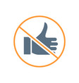 forbidden sign with a thumb up colored icon vector image