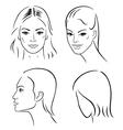 four woman outline faces vector image