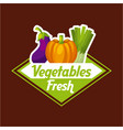 fresh vegetable emblem image vector image