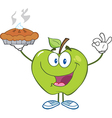 Happy Green Apple Character Holding Up A Pie vector image vector image