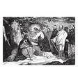 jesus heals a man born blind vintage vector image vector image