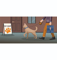 man walking with dog shop building vector image