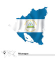 Map of Nicaragua with flag vector image vector image