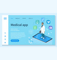 medical app healthcare service landing web page vector image