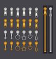 metallic zippers set gold and silver zip fastener vector image vector image