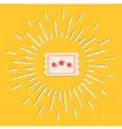 Movie ticket icon shining Flat design vector image