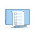 online test computer quiz form on pc screen vector image vector image