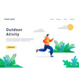 outdoor running activity landing page template vector image