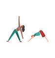 people doing fitness or yoga woman and vector image vector image