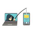 phishing scam hacker attack on smartphone vector image