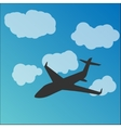 Plane silhouette in the sky vector image vector image