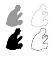 praying muslim icon outline set grey black color vector image