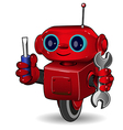 Red robot with tool vector image vector image