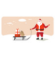 santa claus carrying sleigh with present box merry vector image