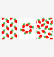 seamless patterns with ripe strawberries set vector image vector image