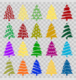 set of colorful christmas trees vector image