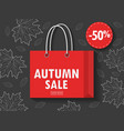 shopping bag with autumn sale vector image vector image