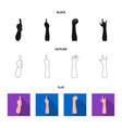 sign language blackflatoutline icons in set vector image