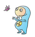 space alien wants to catch the butterfly
