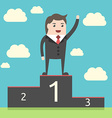 Successful businessman on pedestal vector image vector image