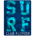 surf club tee clothing poster design vector image vector image