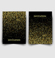 two template design of invitation with gold sequin vector image vector image